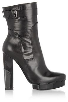 Lanvin Metal-paneled leather calf boots   THE OUTNET