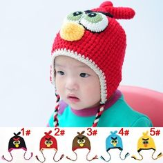 Baby Boy Girl Crochet Earflap Hats Angrybirds Knitting Bird cap 1-3T - 5th village
