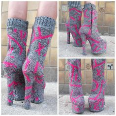 Fabulous Knithack Alert! Upcycled Platforms Covered in Knit 80s Sweater #vintage #upcycle