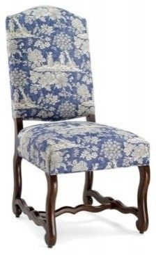 Love this side chair from:  Pierre Deux  this gives me an idea to reupholster our dining room chairs in this color...our chairs look this as well...