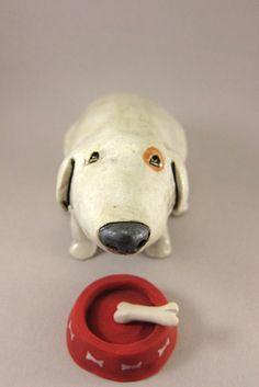 H.U.N.G.R.Y....Dog Sculpture in Stoneware by elukka on Etsy