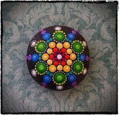 Jewel Drop Mandala Painted Stone Rainbow dreams by ElspethMcLean
