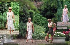 July 15 1996 Diana walks through the garden of Annabel Goldsmith in Ham, Surrey
