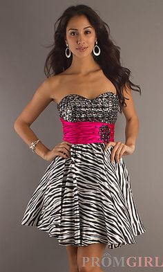 Short Zebra Print Party Dress at PromGirl.com they have super cute dresses !!!!!