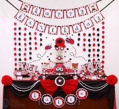 Red Sweet Lady Bug Birthday Party Package por venspaperie en Etsy