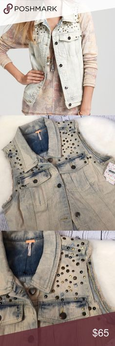 """HP 🎉 Free People Studded Denim Blizzard Vest Sz M Awesome piece to make THE outfit!! Brand New with tags from Macy's ... FREE PEOPLE Studded Denim Vest. Blizzard Wash. A awesome retro vintage feel & style almost acid wash!! Just a super sweeeeeet piece!! Women's Size Medium. From a smoke home home & in NEW condition!!  Approx measurements: Armpit to armpit: 19"""" Armpit to bottom: 13"""" Shoulder to bottom: 24.5"""" Across bottom: 18.5"""" closed Free People Jackets & Coats Vests"""