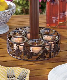 Enjoy The Evening On Your Patio Or Deck Even More With An Umbrella  Candleholder. Decorative