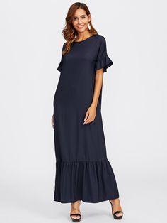 Bell Sleeve Tiered Hem Full Length Dress -SheIn(Sheinside)