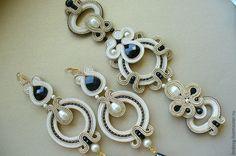 Купить VANILLA FLAVOR - бежевый, золотой, золотистый, серьги, браслет, сутажная техника, сутажные украшения Fabric Jewelry, Boho Jewelry, Jewelry Crafts, Copper Earrings, Tassel Earrings, Beaded Necklace, Soutache Bracelet, Soutache Jewelry, Shibori