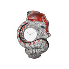 The Dragon Mystérieux watch by Cartier coils around the wrist and is crowned by an impressive cushion-shaped fire opal. Discover the best of the high jewellery watches for women in 2016, adorned with gemstones and diamonds: http://www.thejewelleryeditor.com/watches/article/my-year-in-jewellery-watches/ #jewelry