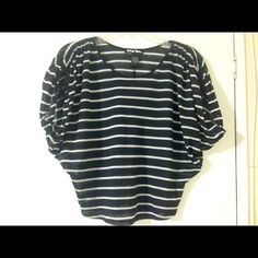 """Black & white striped casual & fun top Lightweight & sheer top that hangs just off the shoulders (see details of shoulder in pic #3). Measures 17"""" in front & 19"""" in back. Have worn twice. Great summer top! Planet Gold Tops Tees - Short Sleeve"""