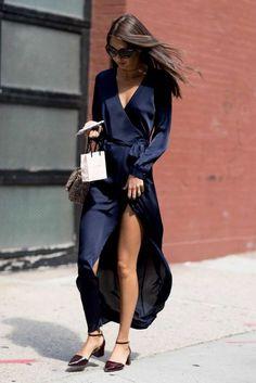 navy satin wrap dress | style