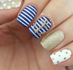 #Nautical #nailart with stripes, anchor + polkadot in blue, gold + white | summer nails @nailsbejema