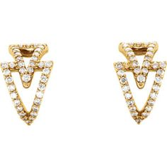 14kt Yellow 1/4 CTW Diamond Geometric Earrings. Locate a Jeweler Near You: http://www.stuller.com/locateajeweler/
