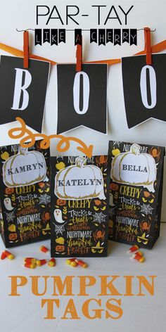 Free printable pumpkin tags- use for goody bags, trick or treat favors, name tags, place settings. Great for class parties or your halloween bash. Halloween Party Decor, Halloween Treats, Diy Party, Halloween Diy, Party Fun, Halloween Printable, Halloween Goodies, Happy Halloween, Party Printables
