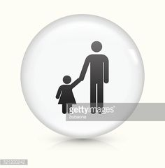 Vector Art : Father and Daughter icon on white round vector button