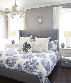 gray and blue master bedroom