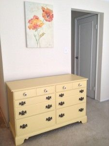 Check out my Vintage Depot yellow dresser revamp! The color is White Raisin by Sherwin Williams.