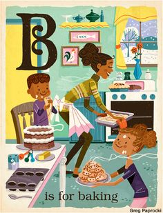 B is for baking from Greg Paprocki's S is for Santa ABC book.
