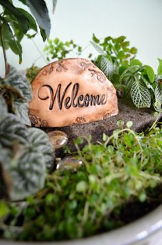 Miniature Welcome stone for Fairy garden: cast marble by garnetteh