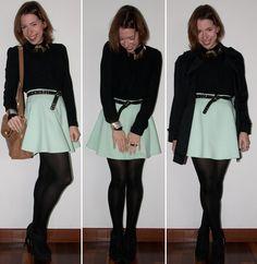 Look do dia: como usar saia rodada American, meia-calça, blusa de botão, trench coat, ankle boot schutz. Look com saia rodada no blog de moda.