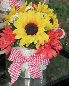 These are silk, but we could replicate with real sunflowers and daisies Picnic Centerpieces, Sunflower Centerpieces, Picnic Decorations, Sunflower Arrangements, Floral Centerpieces, Floral Arrangement, Reception Decorations, Sunflowers And Daisies, Sun Flowers