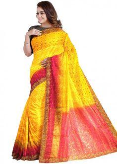 #yellow #woven #bridal #kanjivaram #silk #saree #blouse #attractive #design #sareelove #new #arrivals #beautiful #indianwear #ootd #traditional #womenswear #online #shopping
