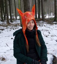 Adults Fox Hat  Felted Wool Fox Costume Hat by FeltYourself
