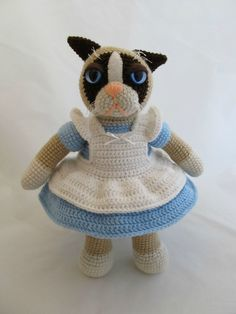 Grumpy Cat in Alice Dress by ScuzzBunny via Reddit - She made it for a friend's baby shower!