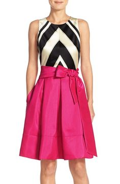 Free shipping and returns on Eliza J Faille & Taffeta Fit & Flare Dress at Nordstrom.com. Satiny fabric structures this bold, bright dress that'll make a refreshing addition to your next soirée.