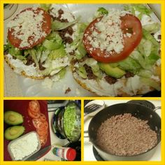 MexicanFood  Ground beef tostadas. Lettuce, tomatoes, avocado, sour cream and cheese!!