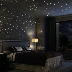 Wandtattoo Loft Sternenhimmel 203 fluoreszierende Leuchtpunkte (inkl. 3 Leuchtsternen) - fluoreszierend selbstklebend - Wandsticker mit langer Leuchtkraft (leuchten im Dunkeln), ideal für Kinderzimmer und Schlafzimmer!
