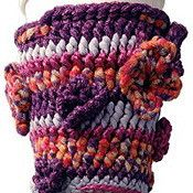 """From berroco.com : """"Java Jammie is a coffee cup holder with flowers crocheted in one colorway of Boho Colors."""""""