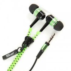 Omega Auriculares cremallera ZIPPY Verde Omega, Headphones, Electronics, Ear Phones, Zippers, Green, Headset