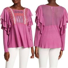$88 NWOT Free People La Cienega Ruffle Embroidered Top Sz M #fashion #clothing #shoes #accessories #womensclothing #tops (ebay link)