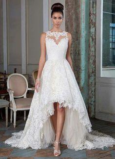 Fabulous  Justin Alexander Signature Bridal Wedding Dresses Gowns Lace Vintage A Line Jewel Sheer Buttoned Back Short Front Long Back