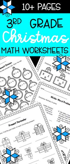 Christmas math worksheets for 3rd grade - multiplication, division, fractions, word problems, and more!