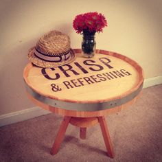 Hey, I found this really awesome Etsy listing at http://www.etsy.com/listing/162937589/rustic-barrel-top-end-table-or-coffee
