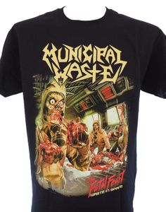 """Brand:Anvil - Front Print: Yes - Back Print: YES  MUNICIPAL WASTE is a crossover thrash metal band from Richmond, Virginia. They performed at the UK's Download Festival on June 15, 2008. They also joined At the Gates on their """"Suicidal Final Tour"""" along with Darkest Hour, Toxic Holocaust and Repulsion. The group's fifth album, The Fatal Feast, was released in April 2012 through Nuclear Blast. In 2010, the band was confirmed as being part of the soundtrack for Namco Bandai Games, 2010 rem…"""