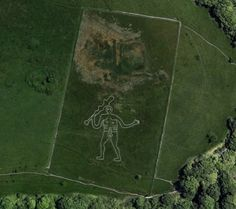 """The Cerne Abbas Giant, also known as the """"Rude Man"""" or the """"Rude Giant"""" is a figure that stands 180 ft. long and 167 ft. wide."""