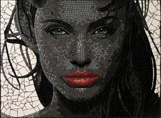 portrait of Angelina Jolie in mosaic tiles