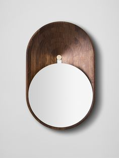 wood + circle + mirror + curved