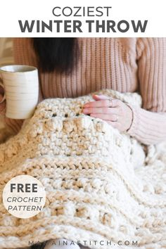 This free crochet pattern for a beautiful throw blanket is so unique! I love all the different stitch patterns that will keep me interested in making it. Because it uses super bulky yarn, it works up quickly. So perfect for a fall or winter diy project. Crochet Throw Pattern, Afghan Crochet Patterns, Crochet Afghans, Baby Blanket Crochet, Crochet Yarn, Stitch Patterns, Diy Crochet Blankets, Crochet Birds, Crochet Food