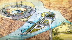 The Plan for Greater Baghdad by Frank Lloyd Wright for a cultural center, opera house, and university on the outskirts of Baghdad, Iraq, in 1957-58. The most thoroughly developed aspects of the plan were the opera house, which would have been built on an island in the middle of the Tigris together with museums and a towering gilded statue of Harun al-Rashid, and the university. Due to the 1958 collapse of the Hashemite monarchy, development of the project stopped, and it was never built.