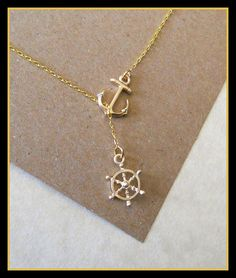 Gold Nautical Lariat Necklace with Anchor and Steering Wheel, love, anniversary, engagement, handmade jewelry via Etsy