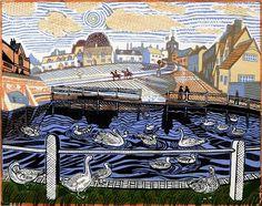 Finchingfield - Print for sale by Richard Bawden - Hayletts Art Gallery Linocut Prints, Art Prints, Block Prints, Scratchboard, Woodblock Print, Graphic Illustration, Illustrations, Printmaking, Paper Art