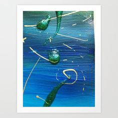 Blue - green abstract painting with glitters and gold Art Print by bublinko Gold Print, From The Ground Up, Buy Frames, Printing Process, Blue Green, Gallery Wall, Glitter, Art Prints, Abstract