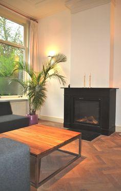 zwart marmeren schouw met gashaard na STIJLIDEE Interieuradvies en Styling via www.stijlidee.nl