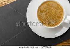 Latte Art Starbucks. A Cup of coffee in Starbucks. Russia Saint Petersburg. 26/10/2017 12:24 am. Starbucks - a chain of coffee shops in the United States and other countries.