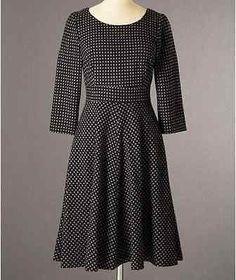 Boden Wool Kate Dress, Black & Grey Polka Dot